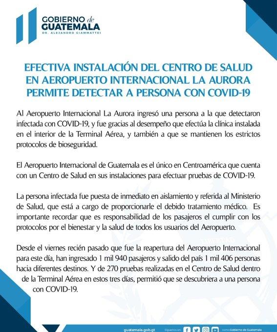 A dos días de abrir el Aeropuerto Internacional La Aurora, así como el resto de fronteras en todo el país, las autoridades confirmaron el primer caso de un pasajero con Covid-19.