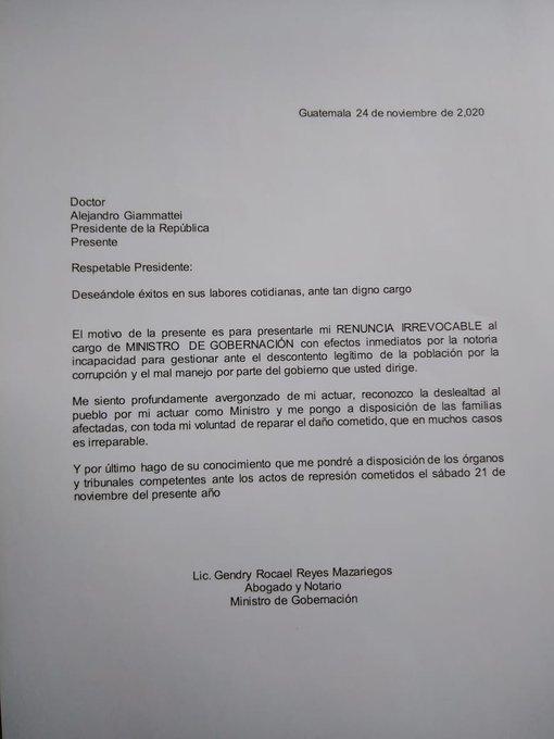 Los diputados de la bancada Semilla, a través de redes sociales, le informaron al ministro de Gobernación, Gendri Reyes, que le redactaron la carta de renuncia al cargo y que solamente faltaría su firma en la misma.